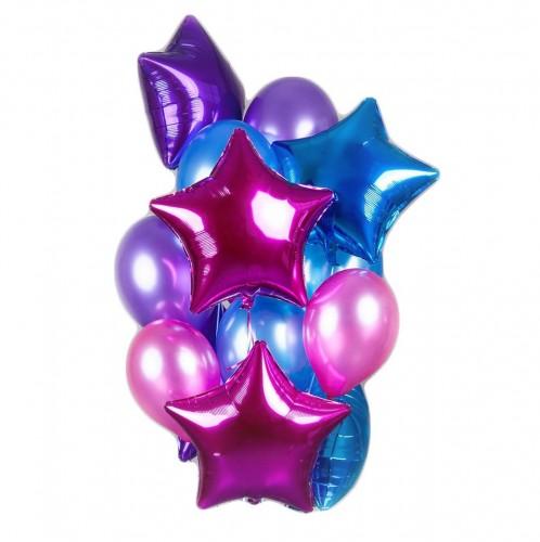 Букет фиолетовых, синих и розовых шаров со звездами фото в интернет-магазине Шарики 24