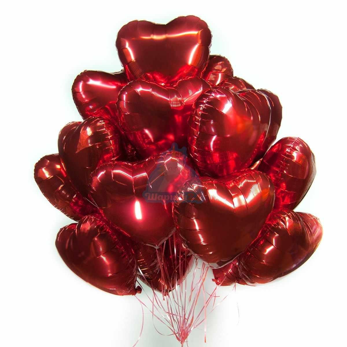 Красные фольгированные сердечки фото в интернет-магазине Шарики 24