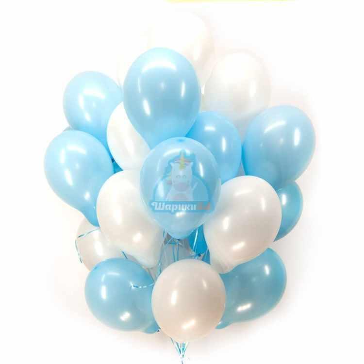 Облако бело-голубых шариков