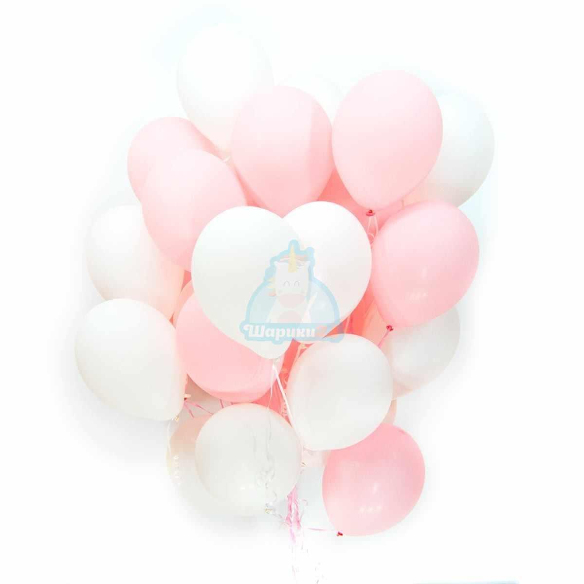 Бело-розовые шарики 100 шт фото в интернет-магазине Шарики 24