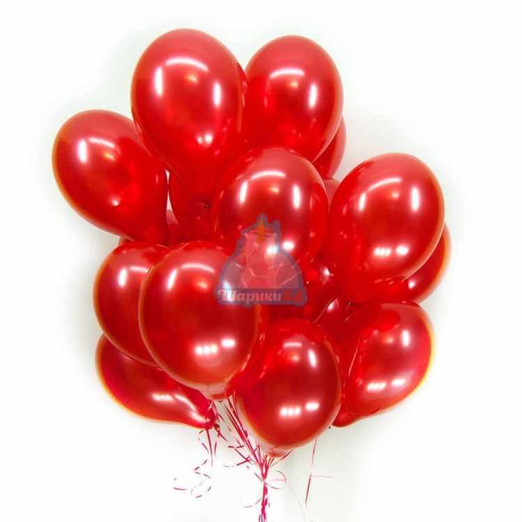 Облако красных шариков металлик