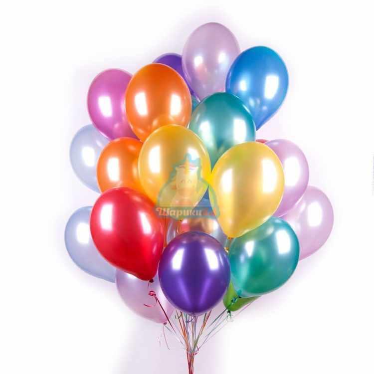 Воздушные разноцветные шарики металлик