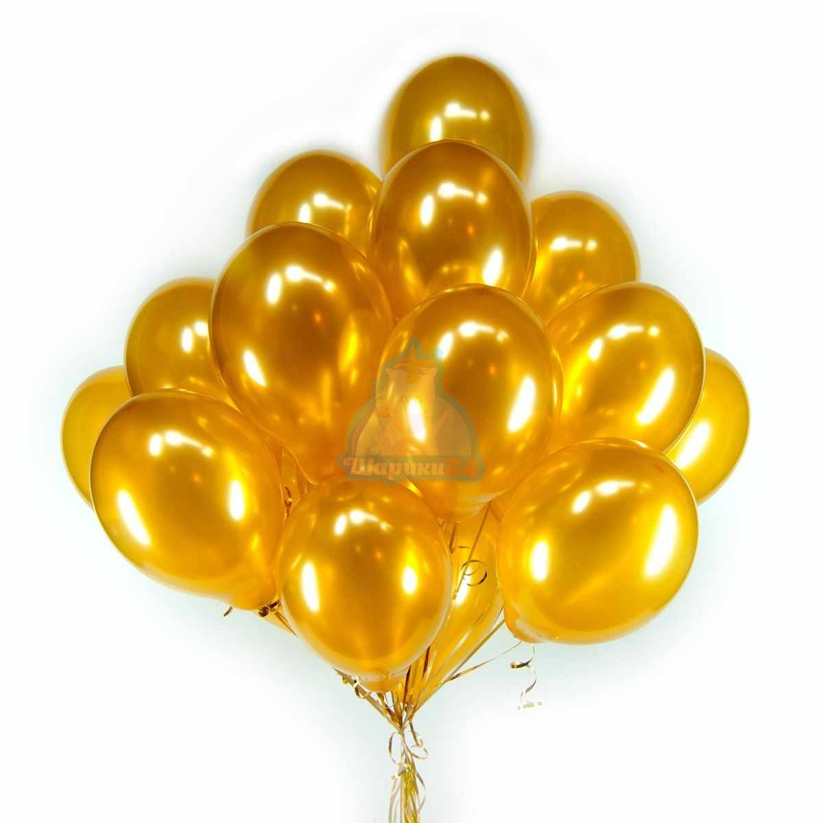 Золотые шарики 100 штук фото в интернет-магазине Шарики 24