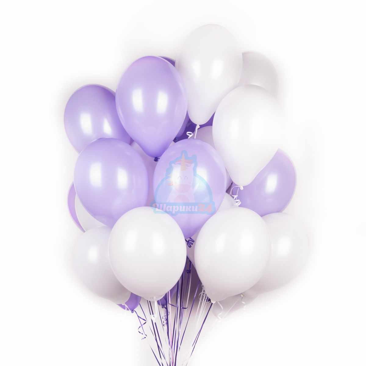 Бело-фиолетовые шары фото в интернет-магазине Шарики 24