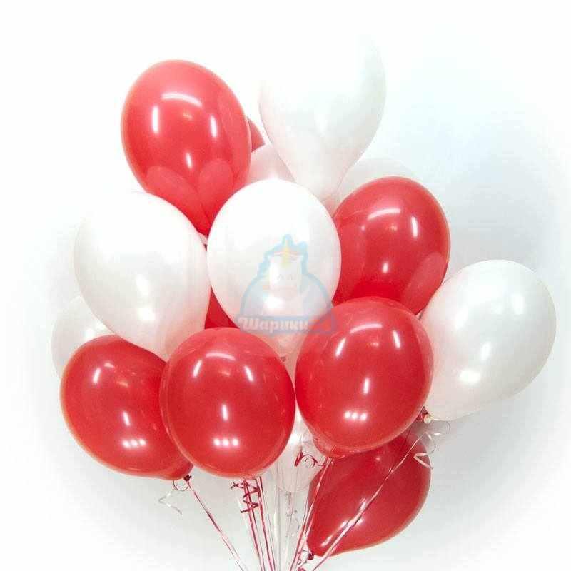 Красно-белые шары фото в интернет-магазине Шарики 24