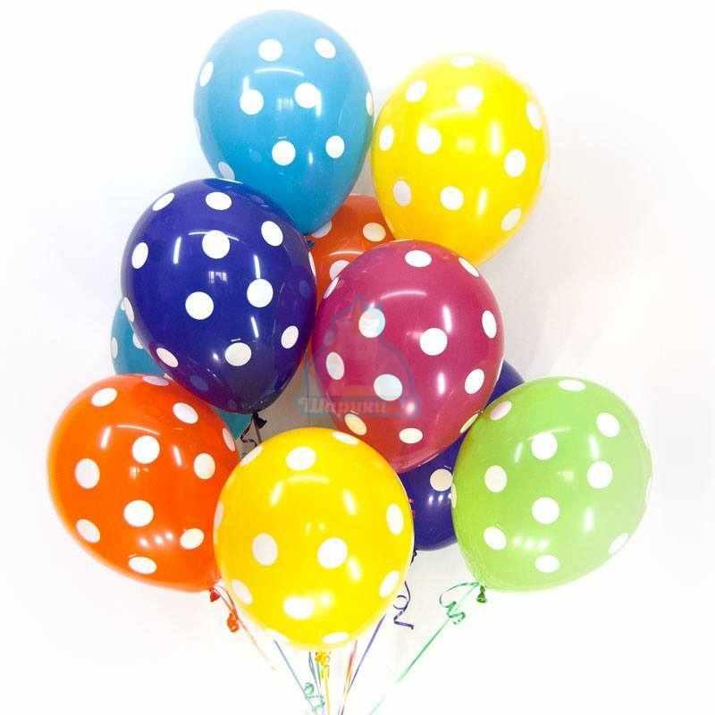 Облако разноцветных шариков в точку