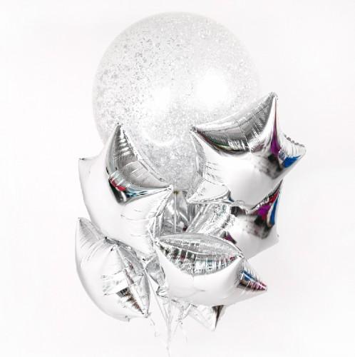 Букет с большим шаром и звездами фото в интернет-магазине Шарики 24