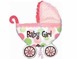 Фольгированная коляска девочки розовая