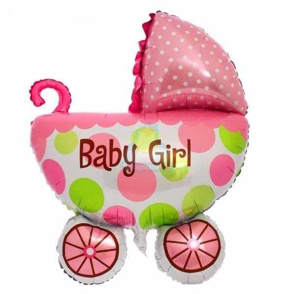 Фольгированная фигура коляска розовая
