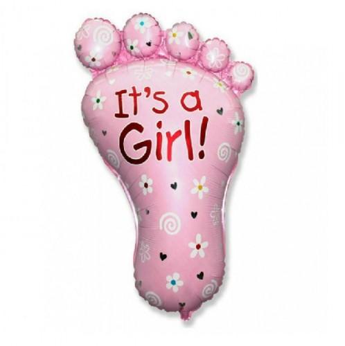 Фольгированная фигура Стопа девочки розовая фото в интернет-магазине Шарики 24