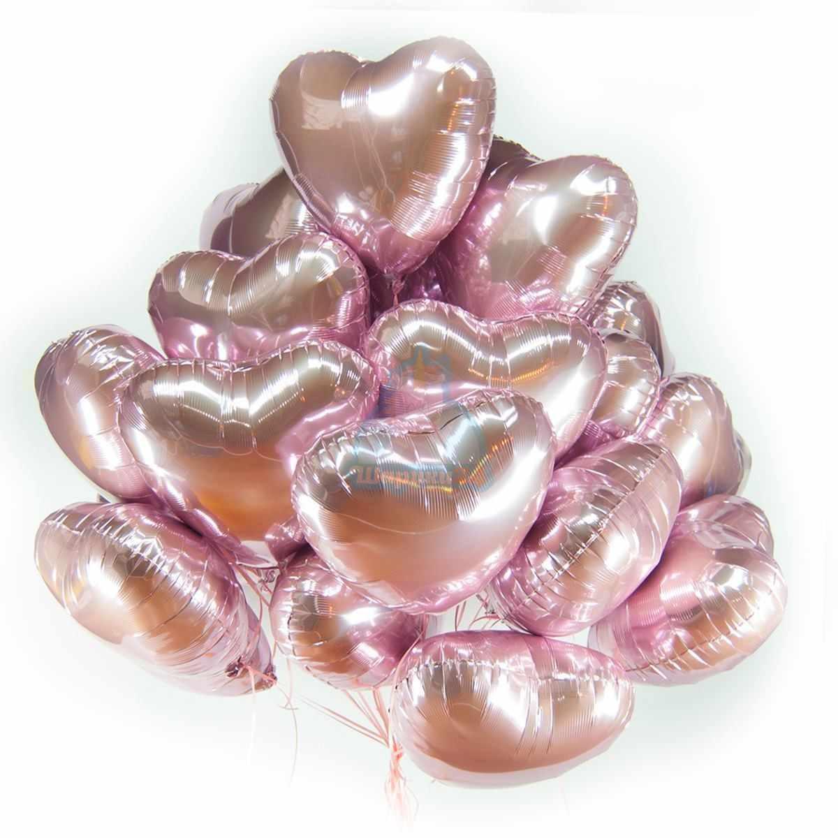 Фольгированные розовые сердечки фото в интернет-магазине Шарики 24