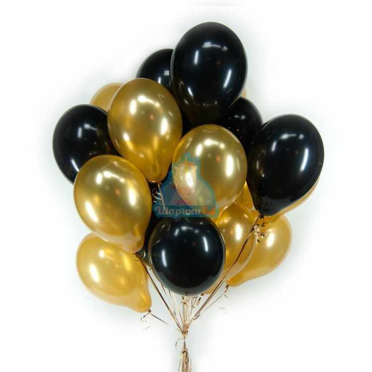Облако черных и золотых шариков - 25 шт