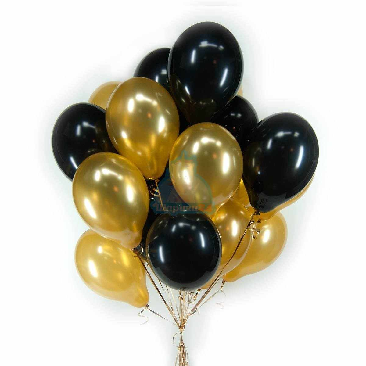 Черные и золотые шарики фото в интернет-магазине Шарики 24
