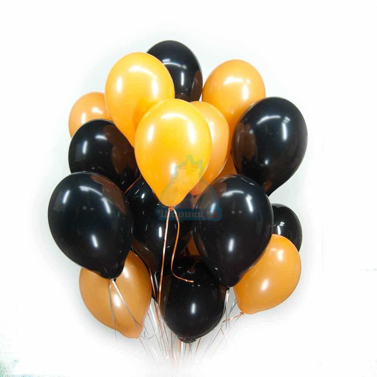 Черные и оранжевые шарики фото в интернет-магазине Шарики 24
