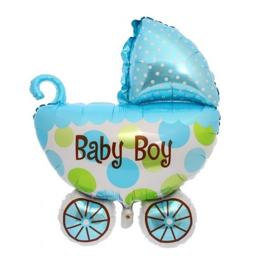 Фольгированная Коляска мальчика голубая фото в интернет-магазине Шарики 24