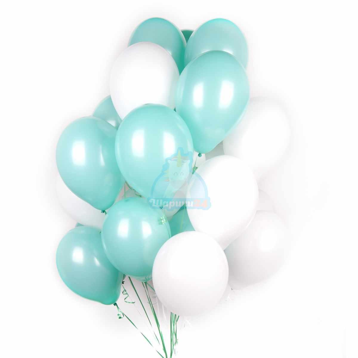 Мятные с белыми шары фото в интернет-магазине Шарики 24