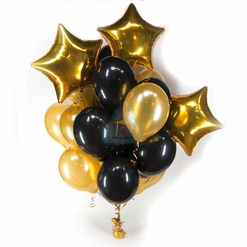 Букет черно-золотые шары со звездами фото в интернет-магазине Шарики 24