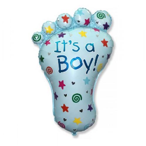 Фольгированная фигура Стопа мальчика голубая фото в интернет-магазине Шарики 24