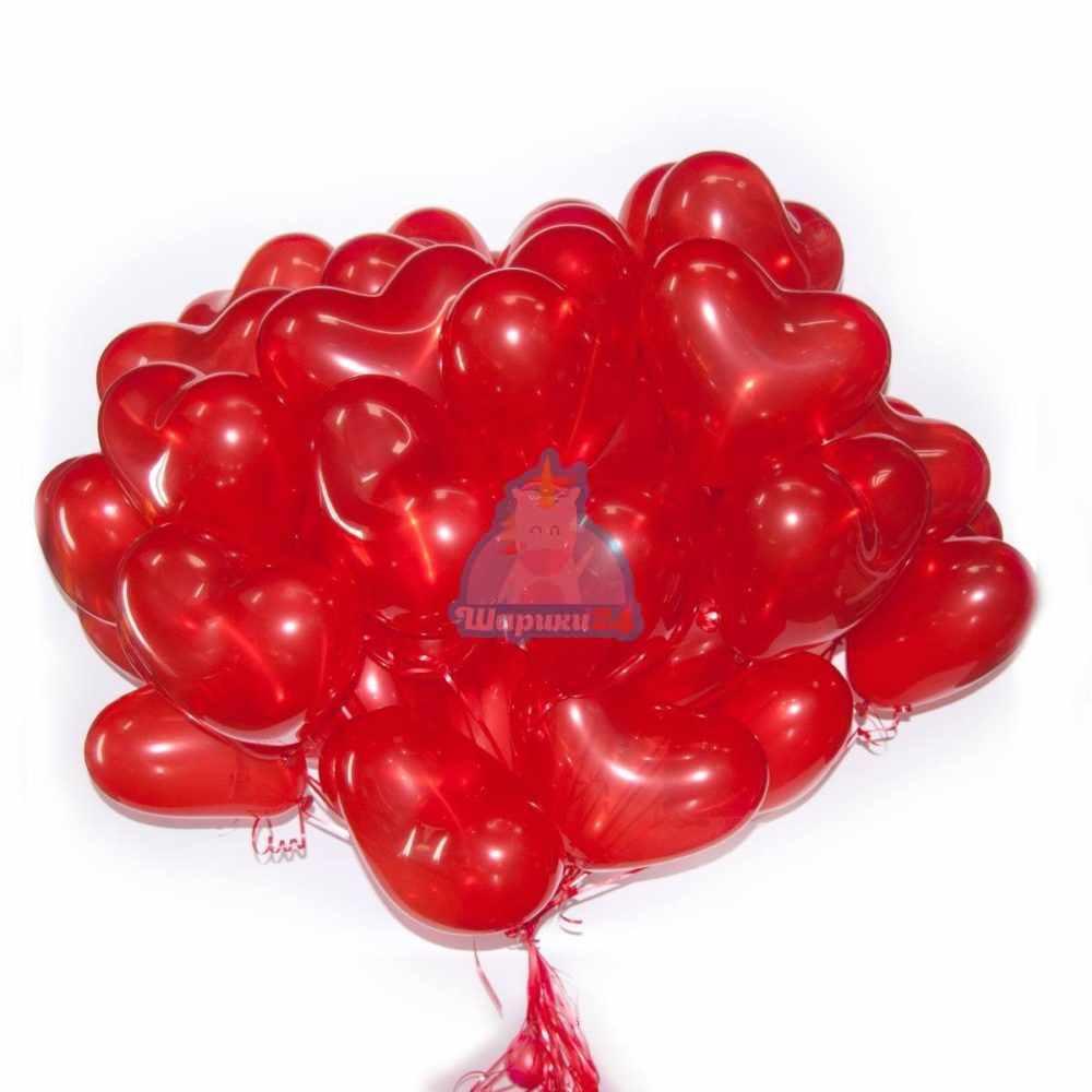 Шары на 14 февраля - сердца красные матовые с гелием 30 см
