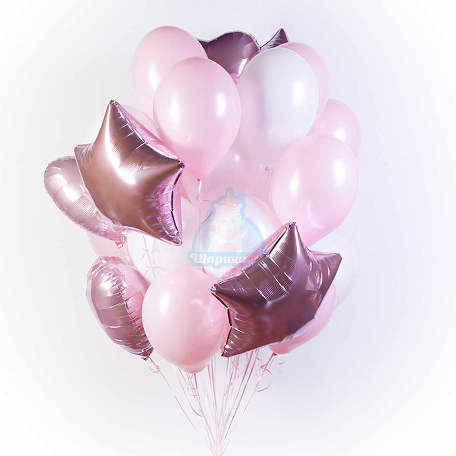 Букет белых и розовых шаров с сердечками и звездами фото в интернет-магазине Шарики 24