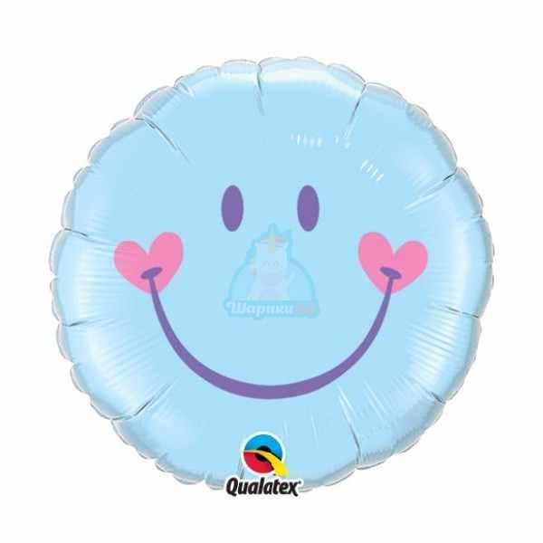 Фольгированный шарик Смайлик голубой