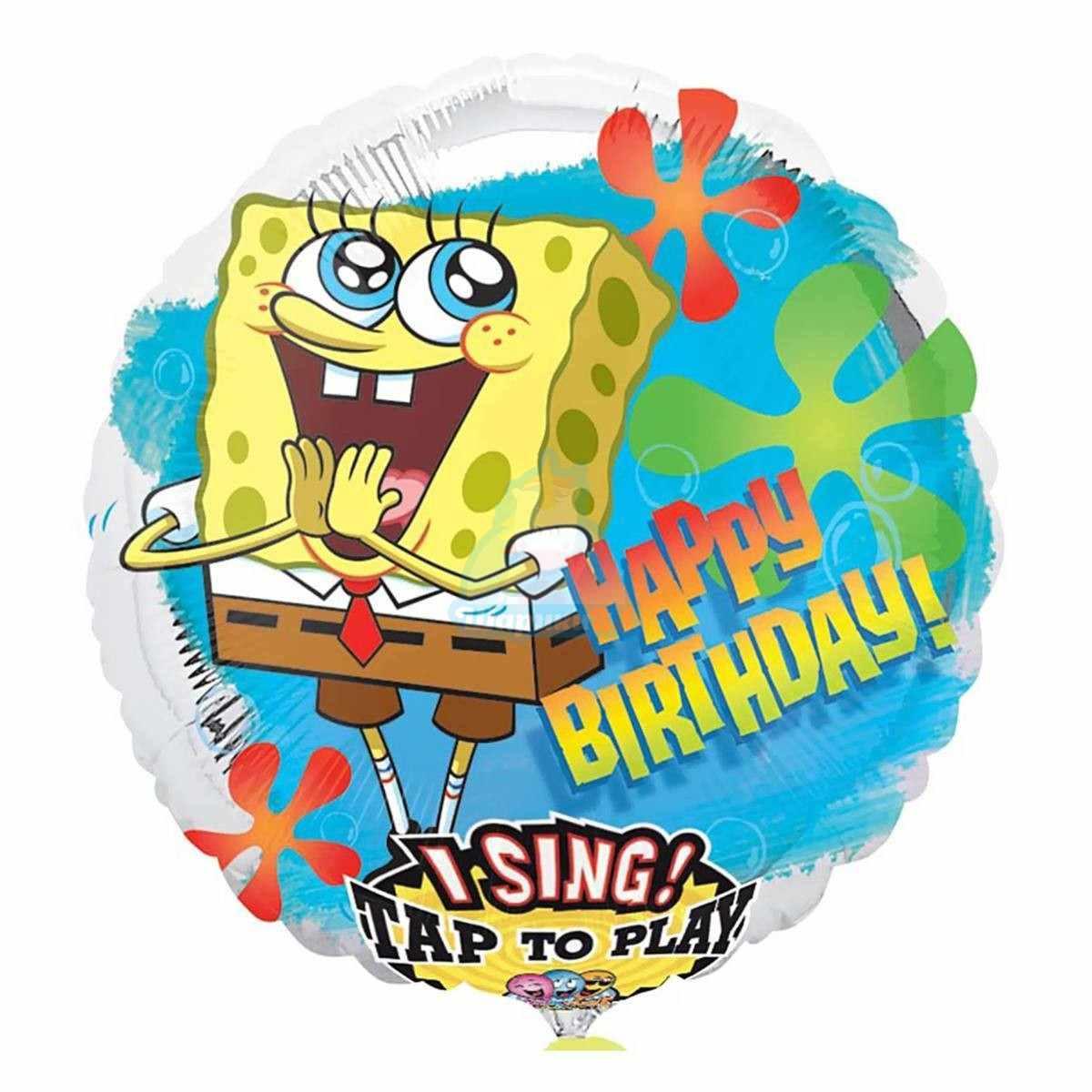 Поющий шар Happy Birthday Губка Боб фото в интернет-магазине Шарики 24