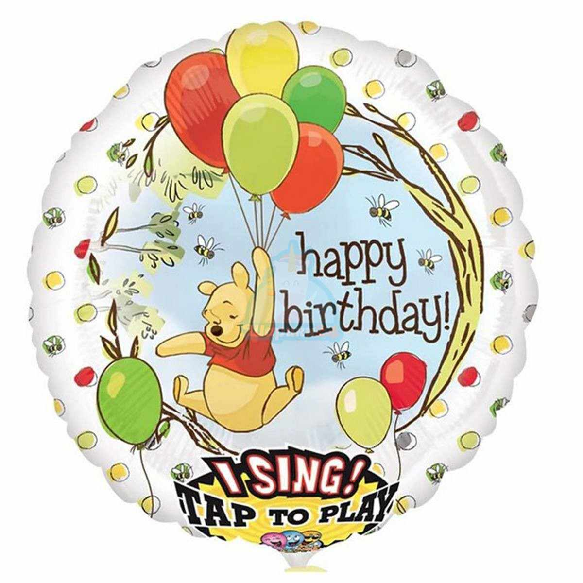 Поющий шар Happy Birthday Винни Пух с шарами фото в интернет-магазине Шарики 24