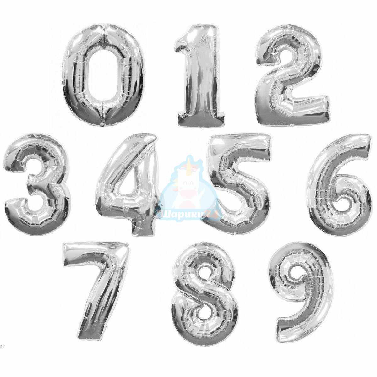 Фольгированные цифры с гелием серебряные фото в интернет-магазине Шарики 24