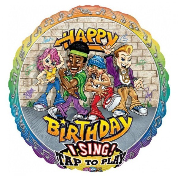 Поющий шар Happy Birthday Репперы фото в интернет-магазине Шарики 24