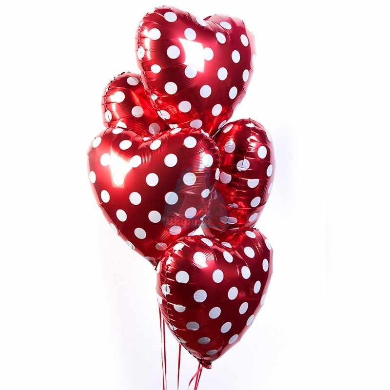 Фольгированные сердца в горошек фото в интернет-магазине Шарики 24