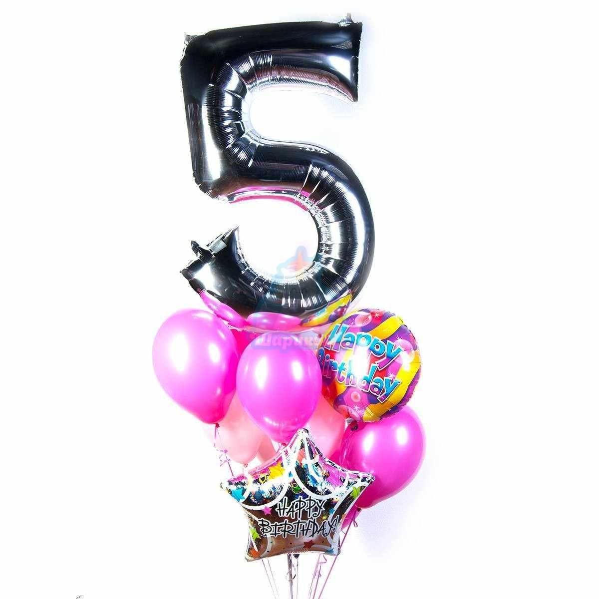 Букет на день рождения с серебряной цифрой фото в интернет-магазине Шарики 24