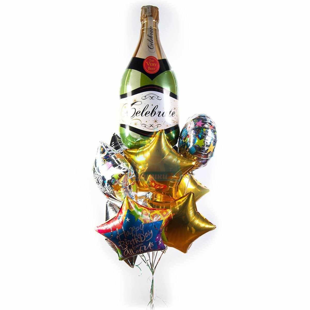 Букет на день рождения с шампанским и звездами фото в интернет-магазине Шарики 24