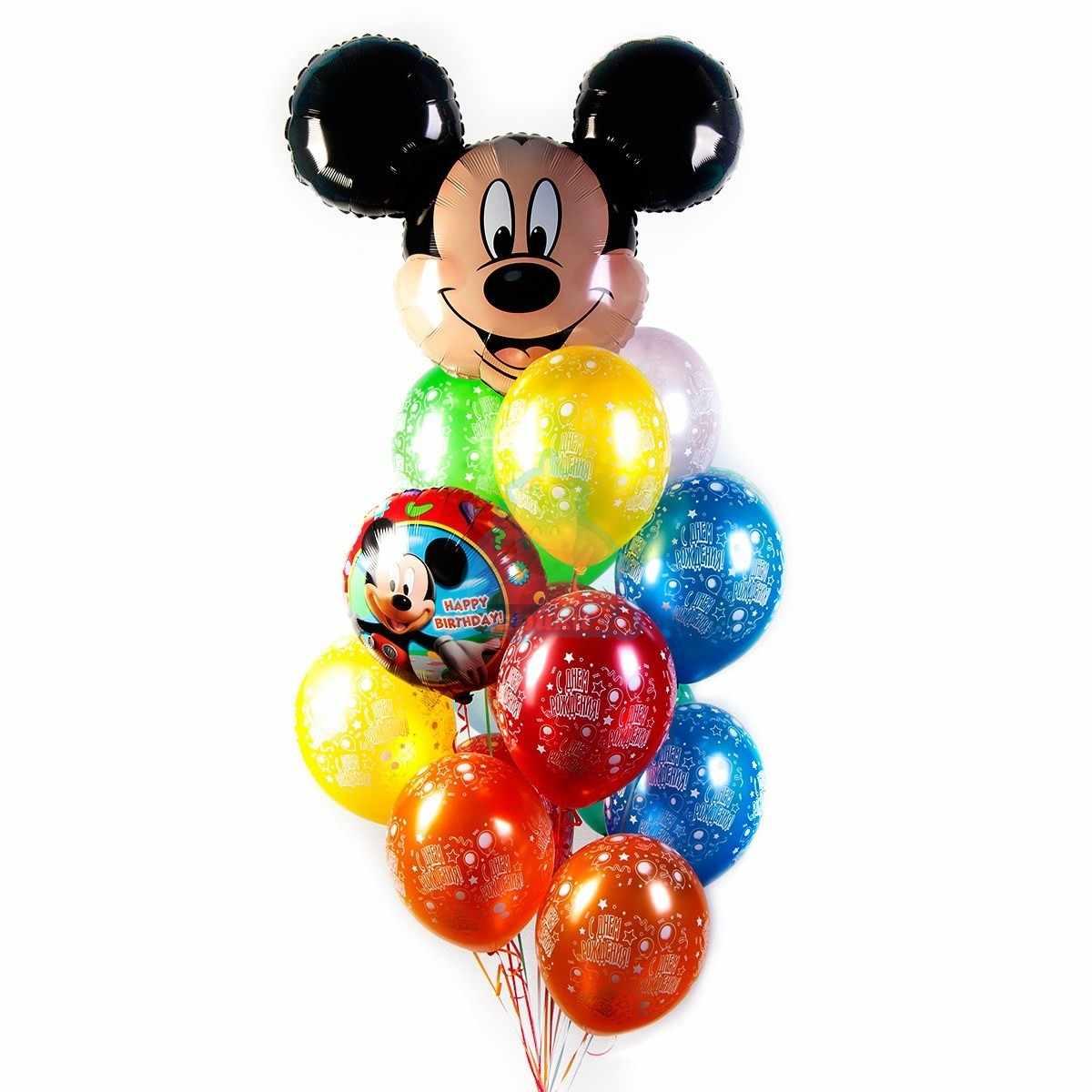 Букет С днем рождения с Микки фото в интернет-магазине Шарики 24