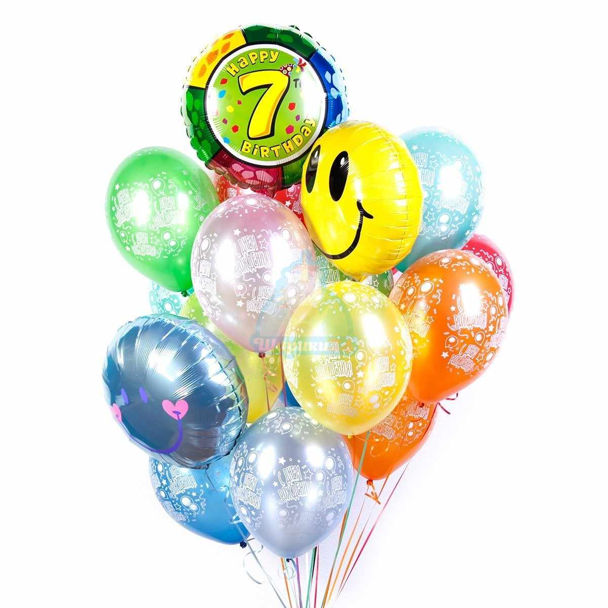Букет шаров С днем рождения с цифрой и смайлами фото в интернет-магазине Шарики 24