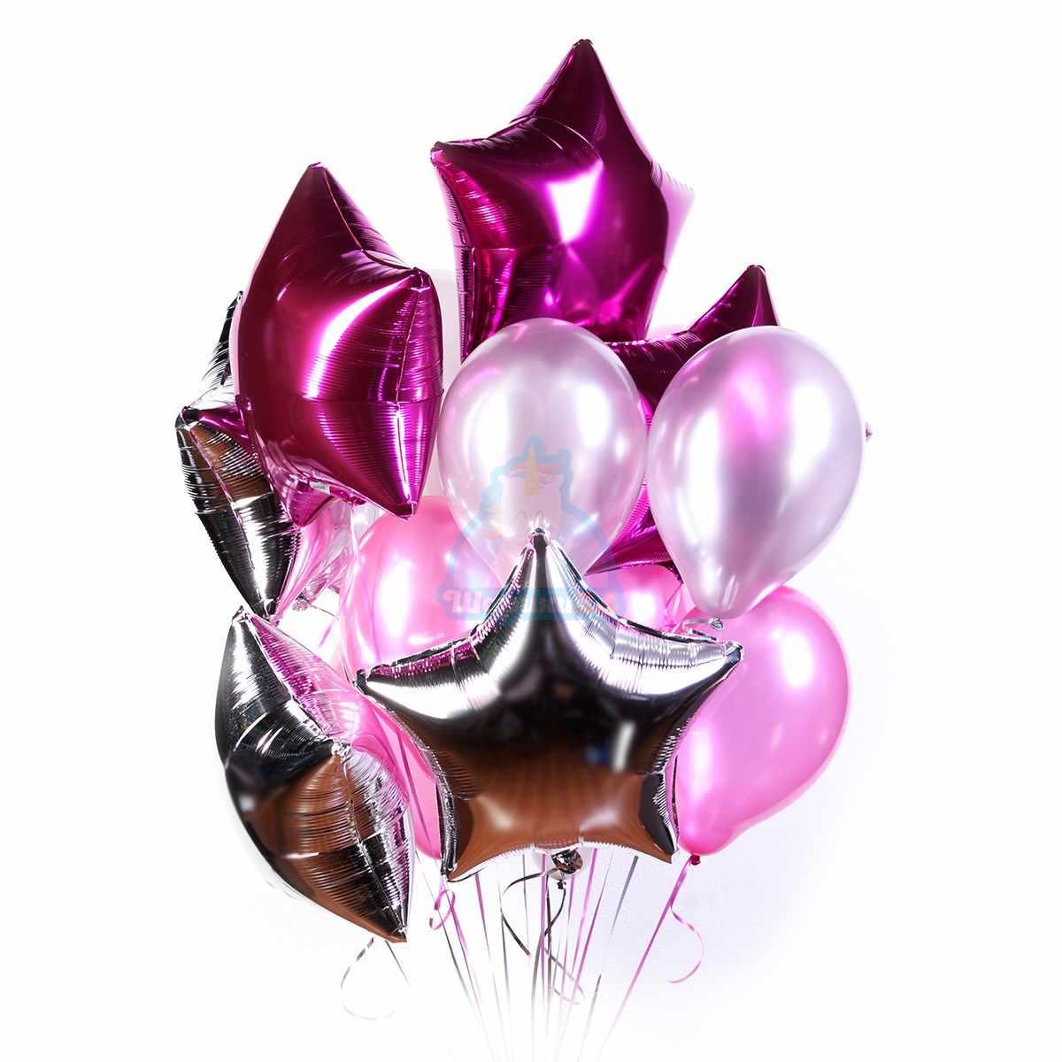 Большое облако серебряных и розовых шариков со звездами фото в интернет-магазине Шарики 24