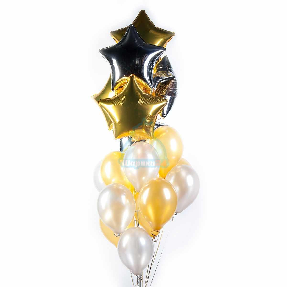 Облако серебряных и золотых шариков со звездами фото в интернет-магазине Шарики 24