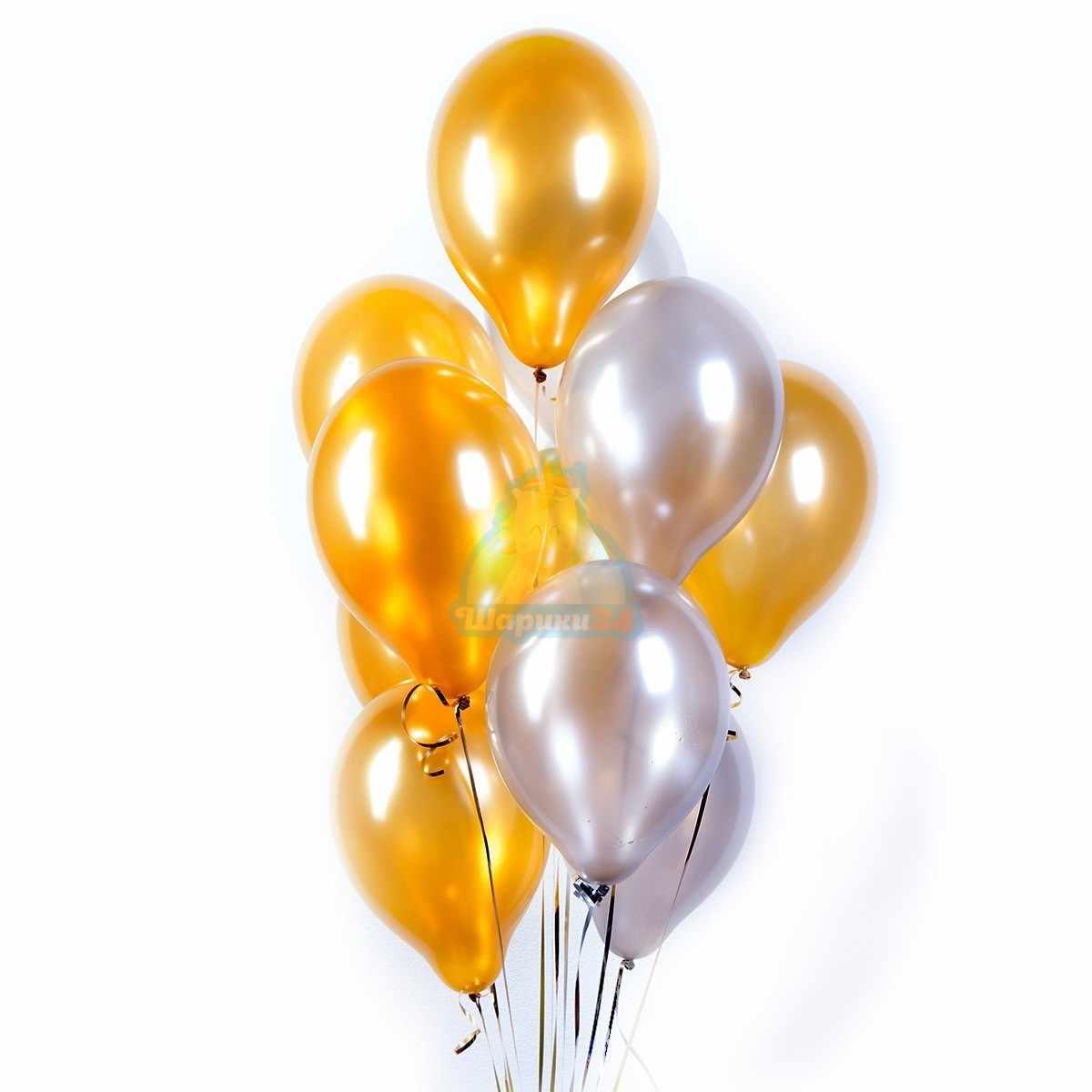 Облако золотых и серебряных шариков фото в интернет-магазине Шарики 24