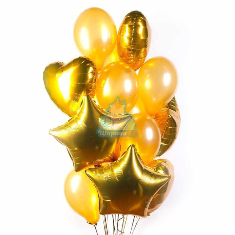 Композиция из золотых шариков с сердцами и звездами
