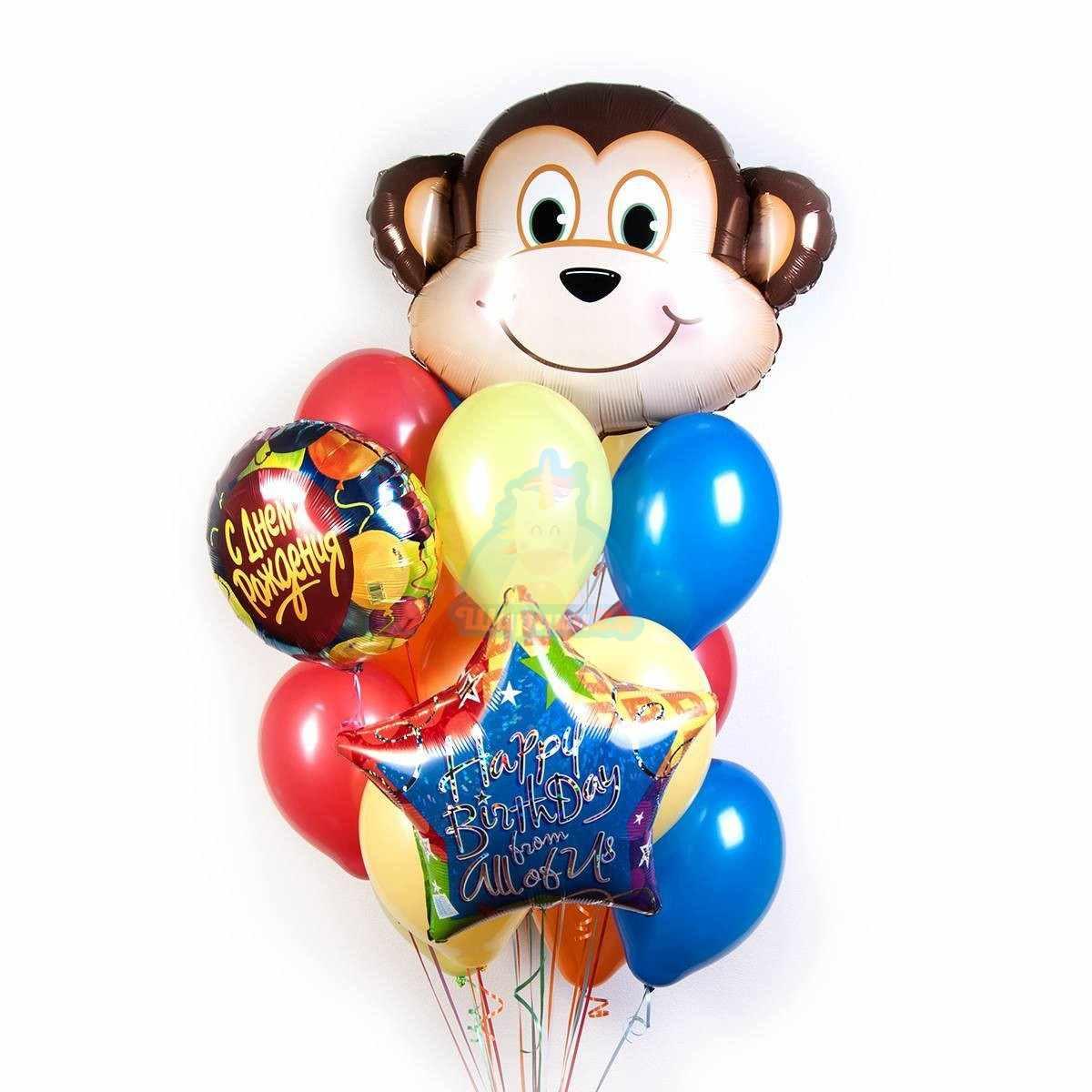 Букет С днем рождения с обезьянкой фото в интернет-магазине Шарики 24