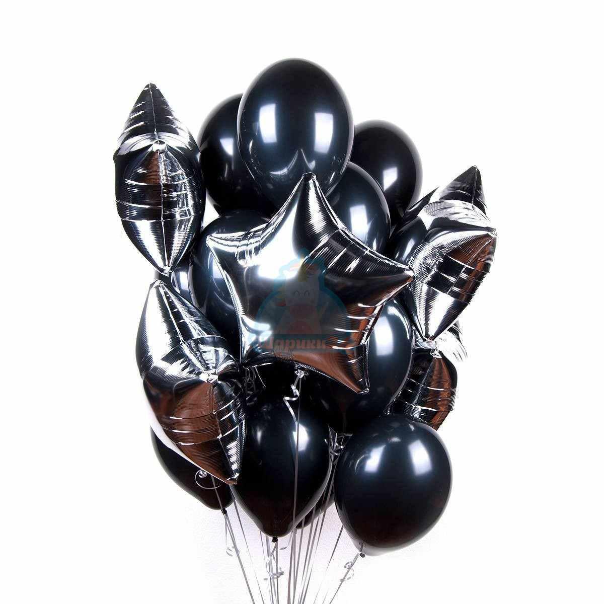 Большое облако черных шариков со звездами фото в интернет-магазине Шарики 24