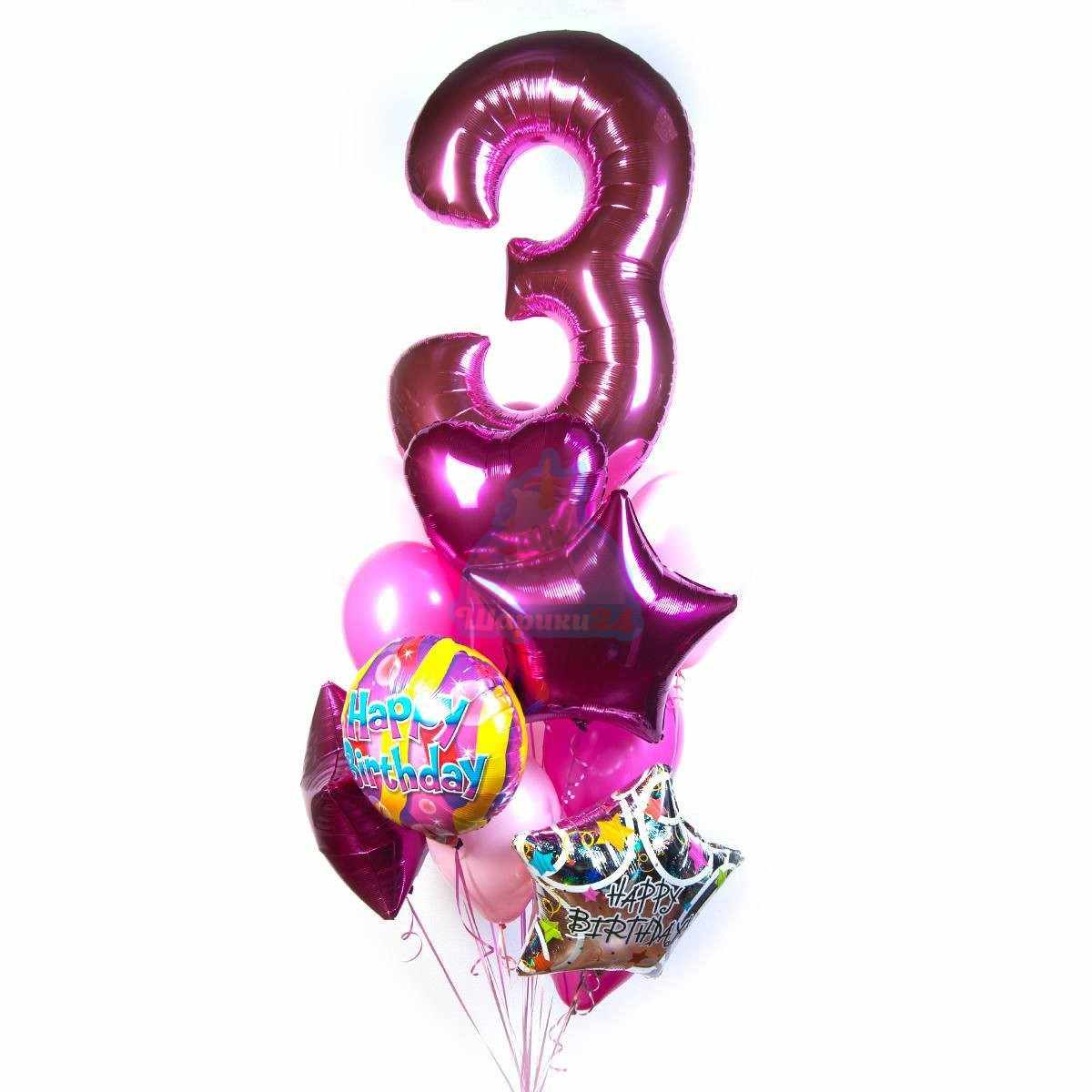 Букет на день рождения с цифрой фото в интернет-магазине Шарики 24