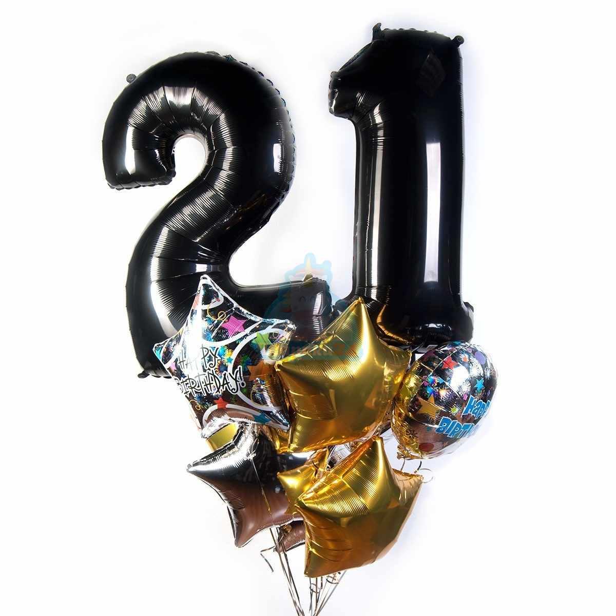 Букет на день рождения с черными цифрами и звездами фото в интернет-магазине Шарики 24