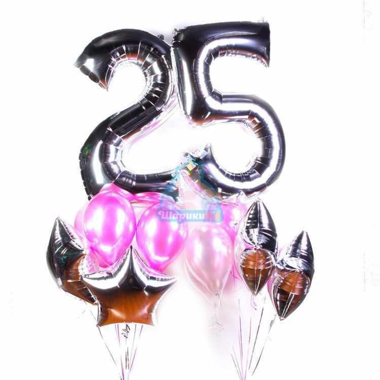 Композиция на День Рождения с серебряными цифрами и звездами