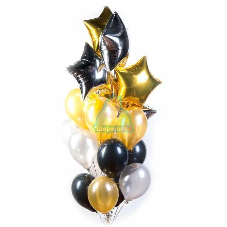 Композиция из серебряных, золотых и черных шариков со звездами