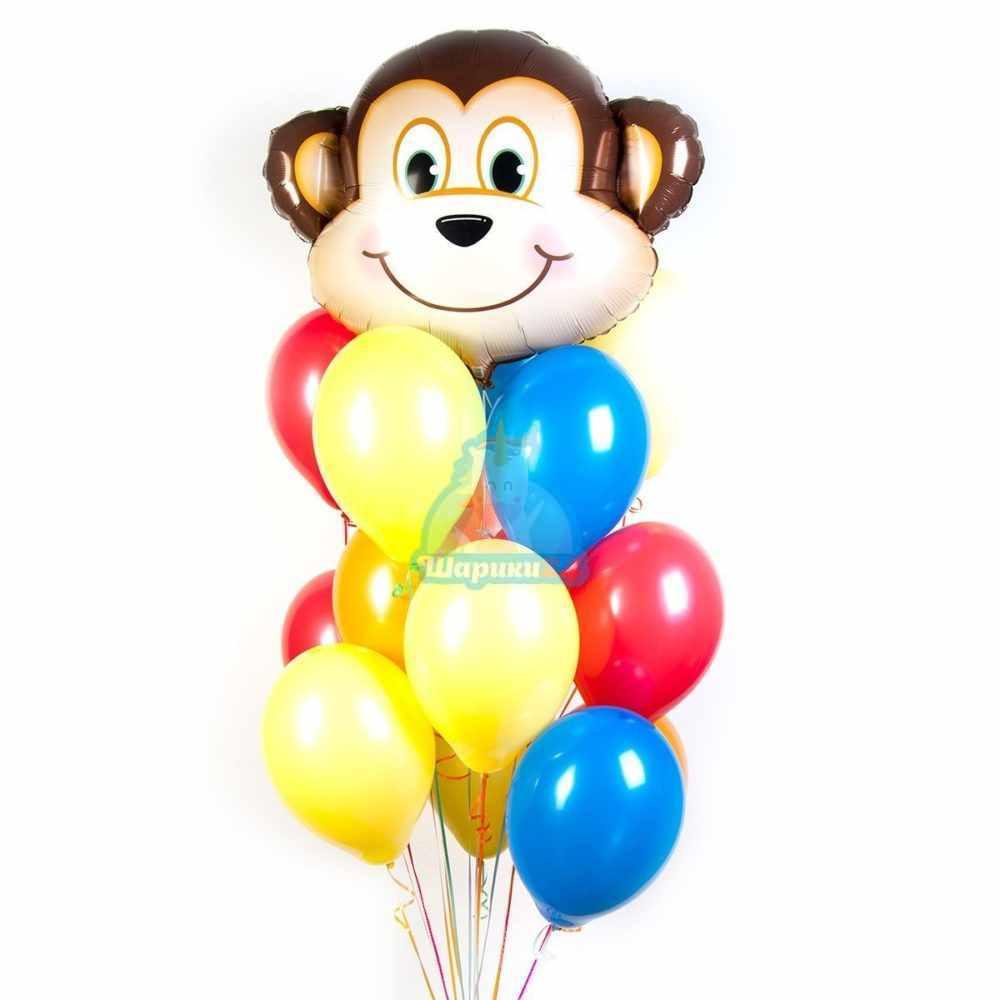 Композиция разноцветных шариков с обезьянкой