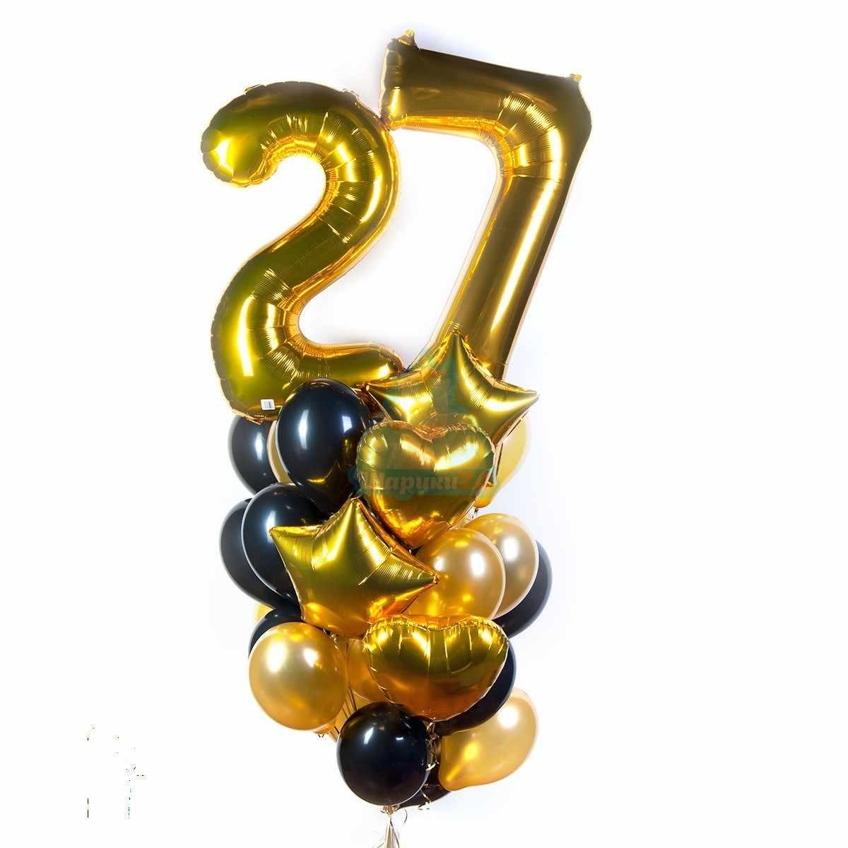 Букет на день рождения с золотыми цифрами звездами и сердцами фото в интернет-магазине Шарики 24