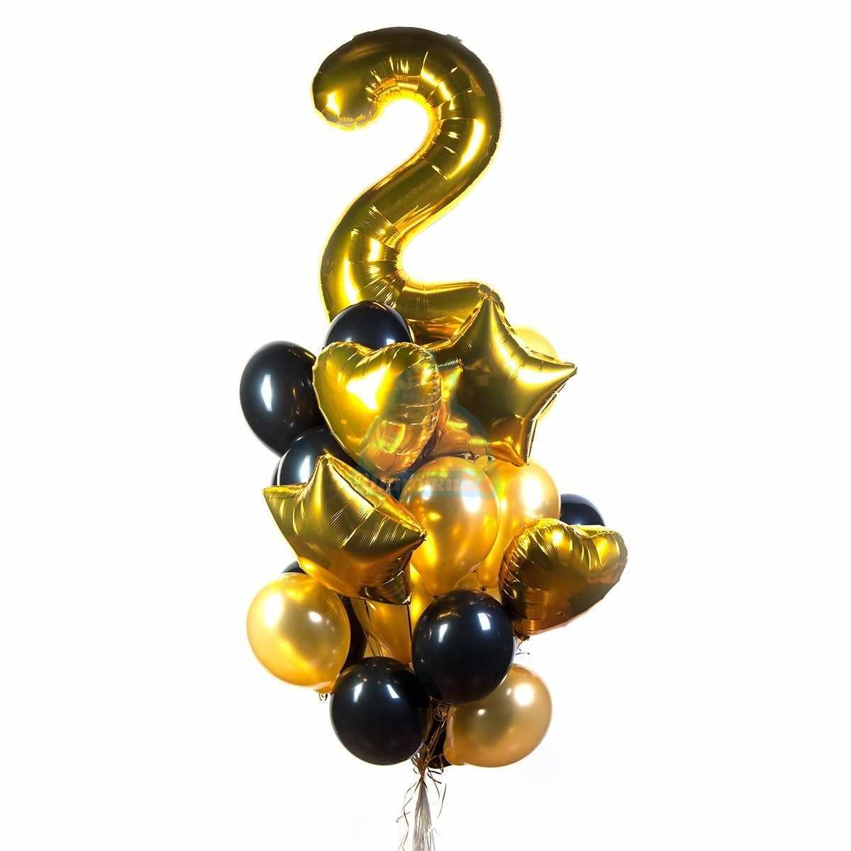 Букет на день рождения с золотой цифрой  звездами и сердцами фото в интернет-магазине Шарики 24