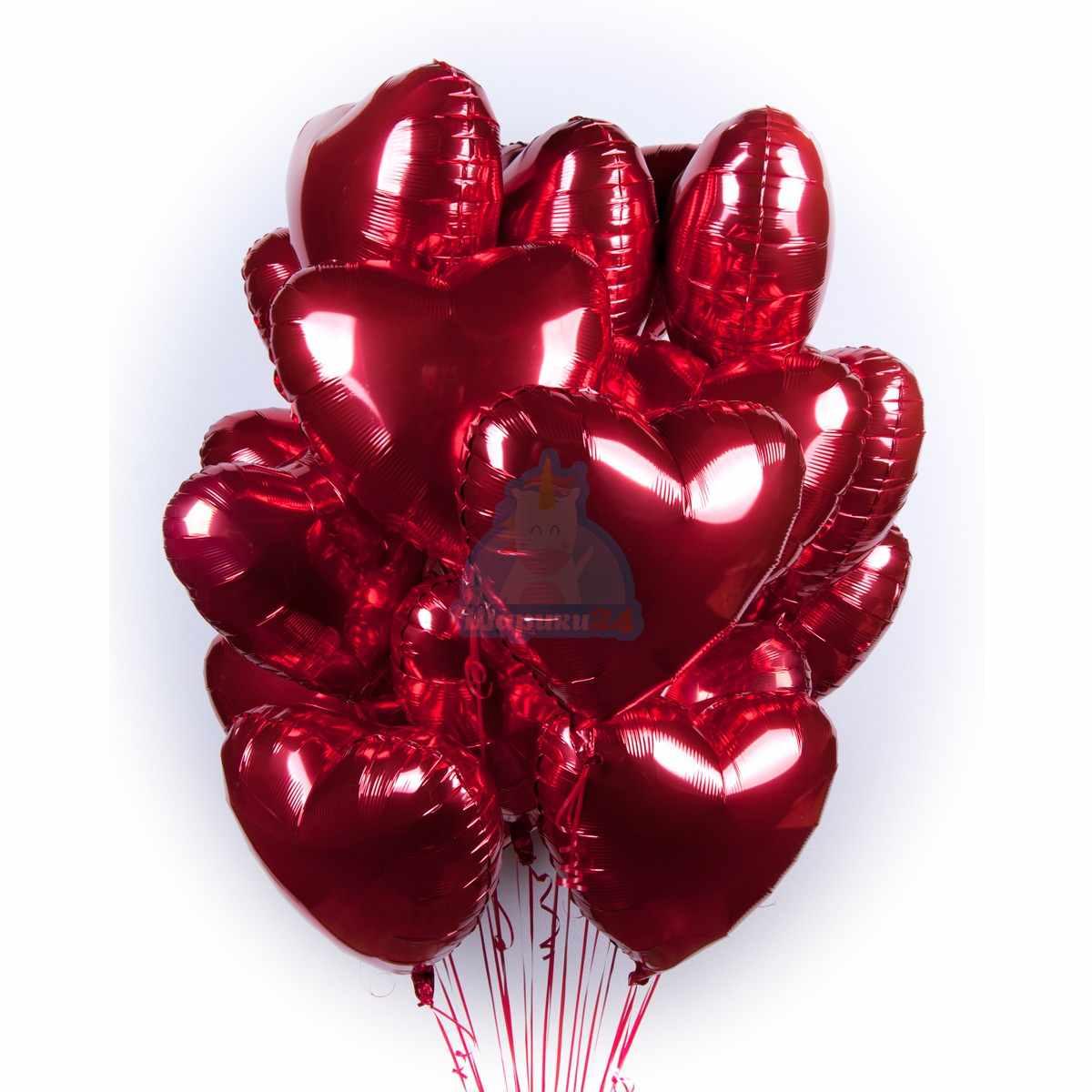 Фольгированные красные сердечки большие  100 шт фото в интернет-магазине Шарики 24