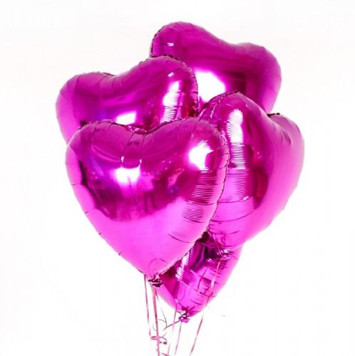 Фольгированные сердца фуксия фото в интернет-магазине Шарики 24