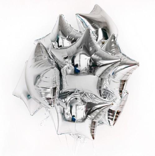Фольгированные серебряные звезды фото в интернет-магазине Шарики 24